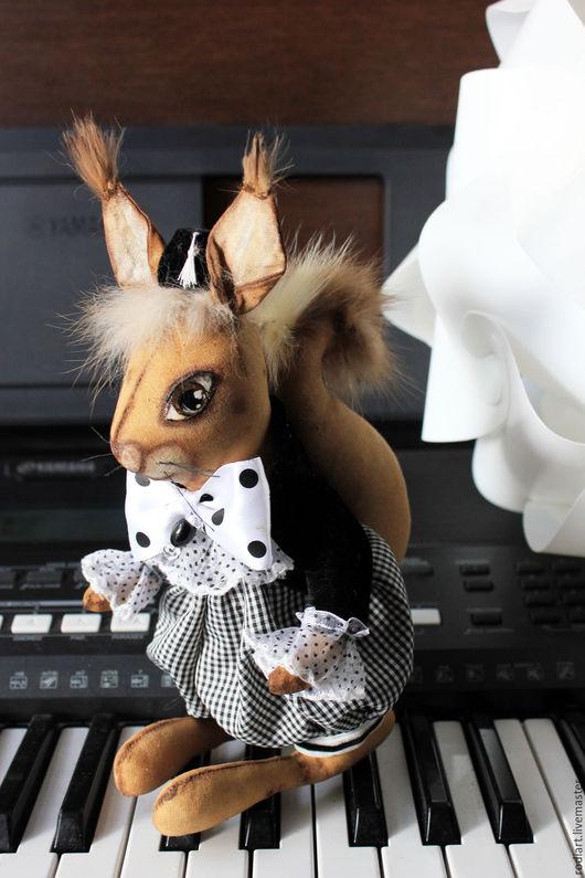 Коллекционные куклы ручной работы. Ярмарка Мастеров - ручная работа. Купить Бельчонок Тема. Handmade. Чёрно-белый, талисман на счастье
