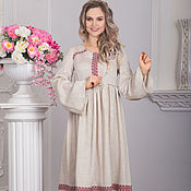 Одежда handmade. Livemaster - original item Linen dress in Russian style captain`s daughter with ornament. Handmade.