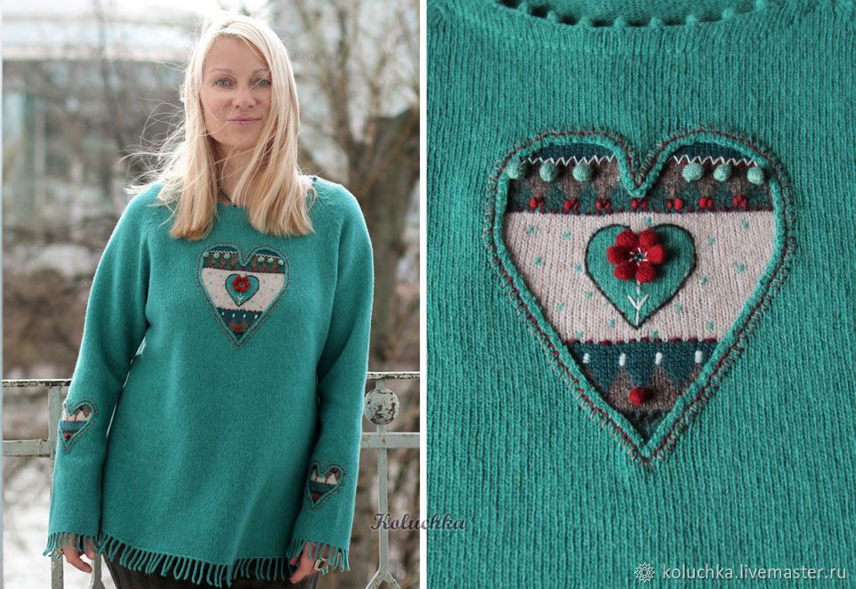 Sweater 'Affairs of the heart' turquoise, Sweaters, Moscow,  Фото №1