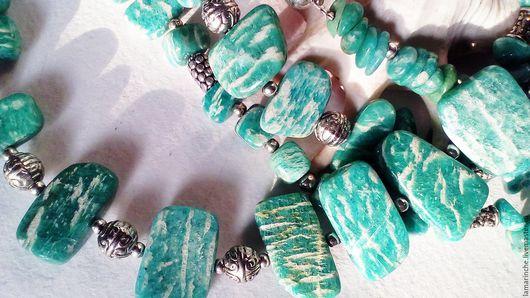 Колье, бусы ручной работы. Ярмарка Мастеров - ручная работа. Купить Колье из амазонита уральского по 600р. Handmade. Ярко-зелёный
