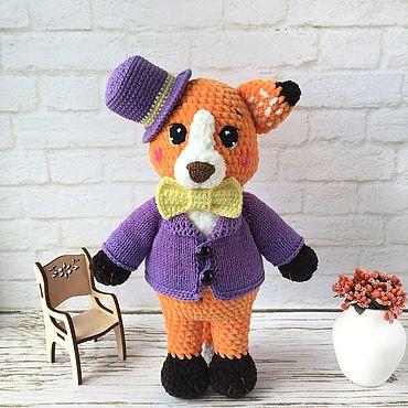 Куклы и игрушки ручной работы. Ярмарка Мастеров - ручная работа Мастер-класс: Лис плюшевый крючком в пиджаке и шляпе. Handmade.