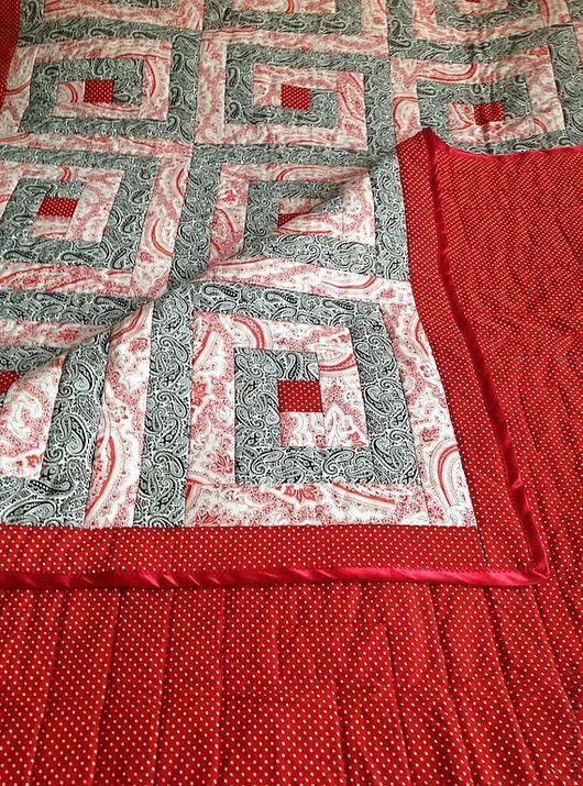 """Текстиль, ковры ручной работы. Ярмарка Мастеров - ручная работа. Купить Одеяло """"Красный лабиринт"""". Handmade. Плед, лоскутное покрывало"""