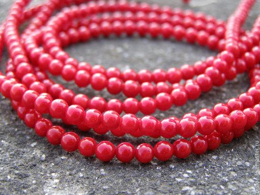 Для украшений ручной работы. Ярмарка Мастеров - ручная работа. Купить Коралл красный круглые бусины 4мм Б124. Handmade.