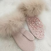 Свадебный салон handmade. Livemaster - original item Mittens, Wedding gloves, Bridal mittens, Gloves with fur. Handmade.