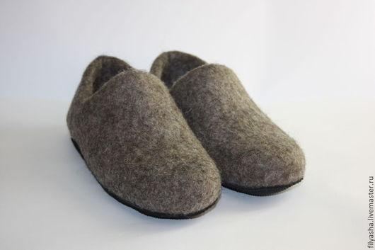 Обувь ручной работы. Ярмарка Мастеров - ручная работа. Купить Тапочки валяные - Домашние. Handmade. Серый, тапочки женские