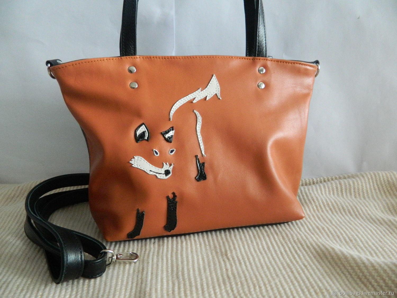beeba634f9 Bag leather women's Bag with applique Fox