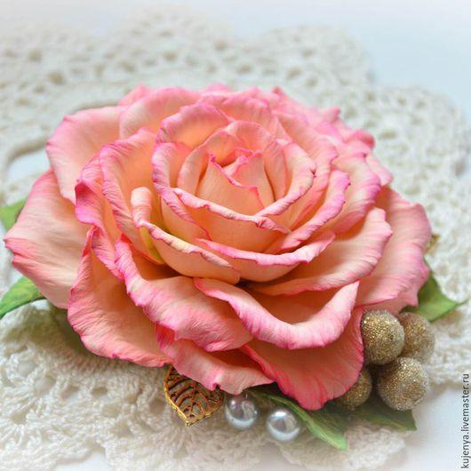 """Заколки ручной работы. Ярмарка Мастеров - ручная работа. Купить Заколка с розой """"Утренняя роза"""" розовая. Handmade. Розовый, розочка"""