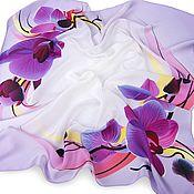 Аксессуары ручной работы. Ярмарка Мастеров - ручная работа Шелковый платок с цветами Сиреневая орхидея, натуральный шелк. Handmade.