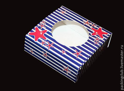 Упаковка ручной работы. Ярмарка Мастеров - ручная работа. Купить Коробочка сборная. Handmade. Синий, глянцевый, картон, картонная коробка