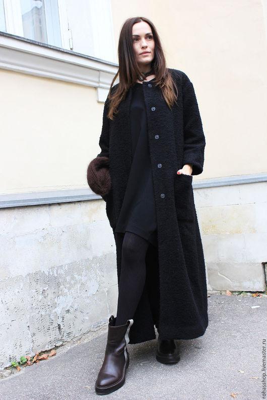 R00035 Пальто черное пальто букле шерстяное пальто на осень стильное пальто из шерсти длинное пальто демисезонное пальто осеннее пальто свободное пальто черное букле пальто в пол дизайнерское пальто
