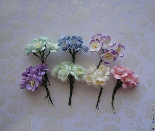 Открытки и скрапбукинг ручной работы. Ярмарка Мастеров - ручная работа. Купить Цветы вишни  6 расцветок 5 штук. Handmade.