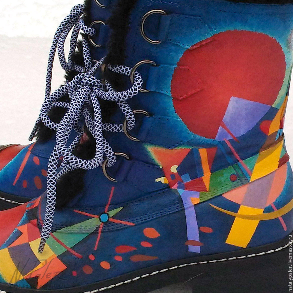 Роспись по обуви. Зимние ботинки «Кандинский. В синем», Ботинки, Москва,  Фото №1