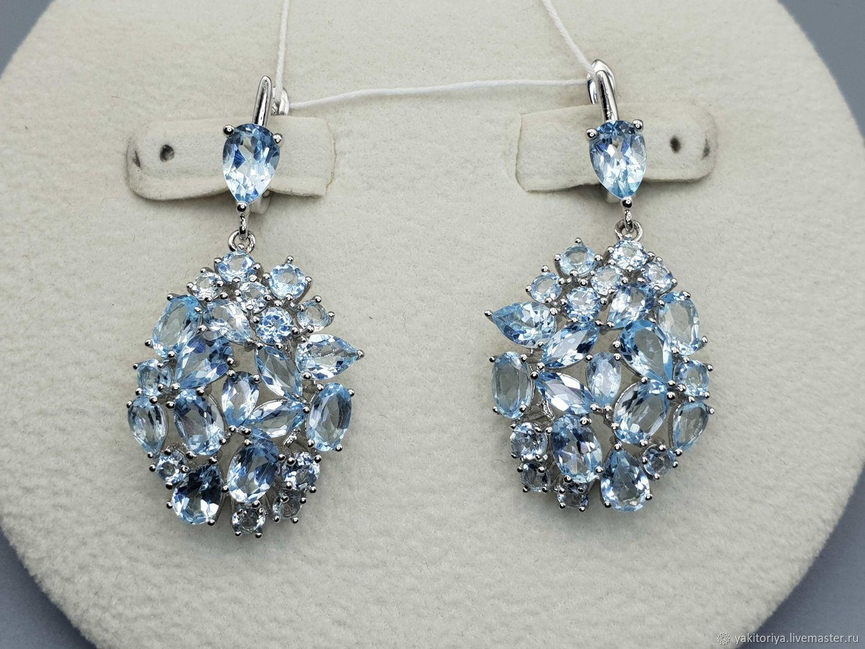 silver earrings with blue Topaz, Earrings, Moscow,  Фото №1