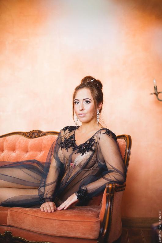 Платья ручной работы. Ярмарка Мастеров - ручная работа. Купить Будуарное платье Moonlight. Handmade. Темно-серый, кружевной элемент