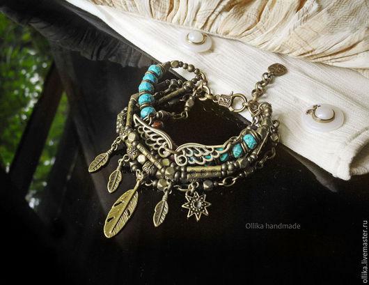 Бронзовый бирюзовый браслет Индия бронзовое украшение, колье и браслет, ollika handmade, ollika Ольга Дмитриева