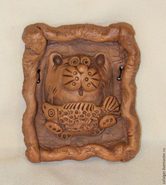 Животные ручной работы. Ярмарка Мастеров - ручная работа. Купить керамика пано кот. Handmade. Коричневый, панно на стену, керамика