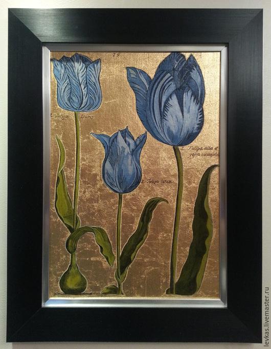 """Картины цветов ручной работы. Ярмарка Мастеров - ручная работа. Купить Картины """"Тюльпаны"""". Handmade. Разноцветный, темпера, холст на картоне"""