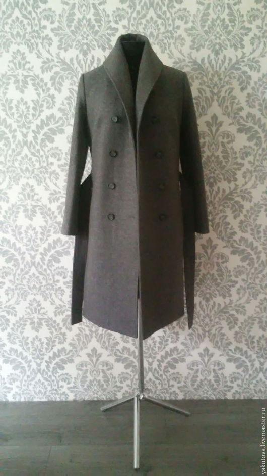 Верхняя одежда ручной работы. Ярмарка Мастеров - ручная работа. Купить Шерстяное двубортное пальто. Handmade. Темно-серый