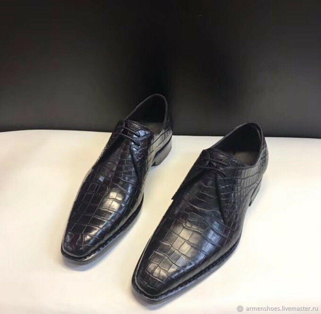 Туфли мужские, классические из кожи крокодила, в чёрном цвете, Обувь, Тосно, Фото №1