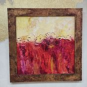 handmade. Livemaster - original item Abstract flowers on a red background red yellow picture. Handmade.