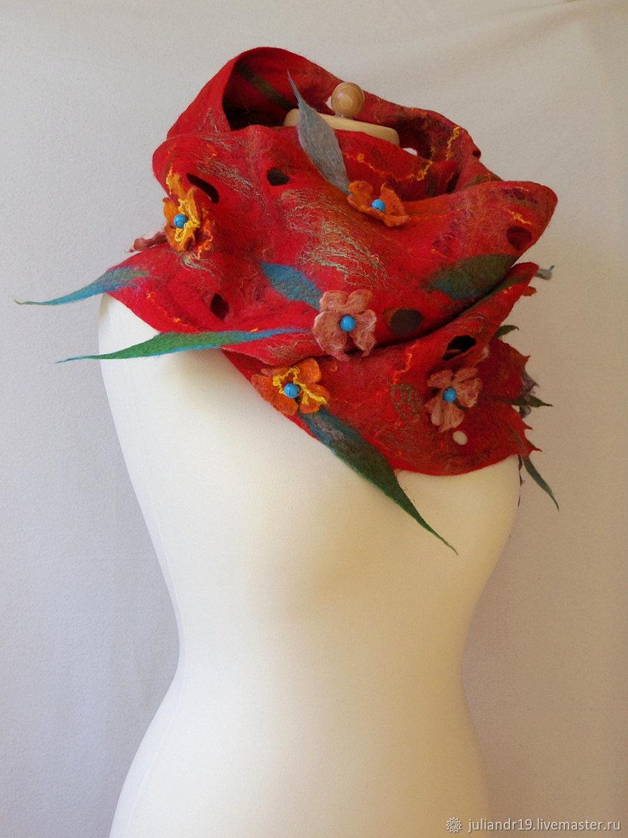 """Шарфы и шарфики ручной работы. Ярмарка Мастеров - ручная работа. Купить """"Музыкальная шкатулка"""", яркий красный фантазийный шарф. Handmade."""