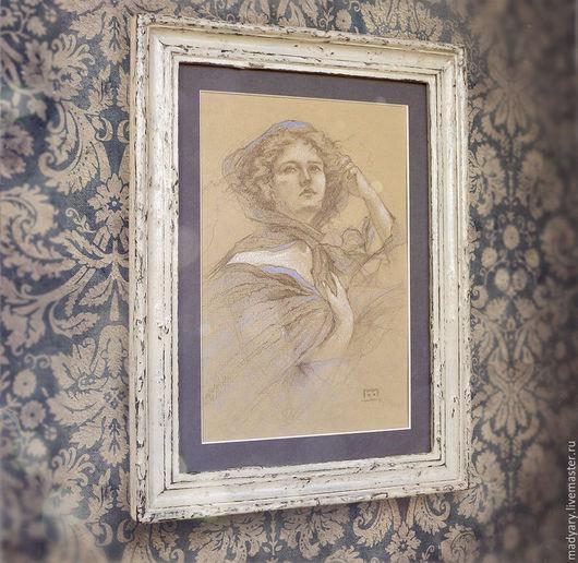 Люди, ручной работы. Ярмарка Мастеров - ручная работа. Купить картина Ветряная девушка (в состаренной раме, фиолетовый, бежевый). Handmade.