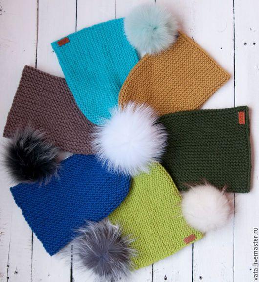 шапка вязаная с помпоном, шапка бини с помпоном, вязаная шапка на осень, шапка вязаная на зиму, шапка ручной вязки, шапка из толстой пряжи, вязаная шапка бини