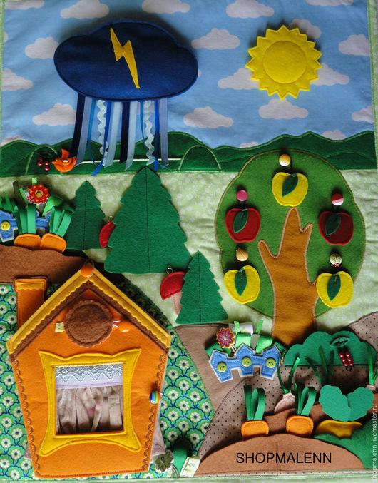 Развивающие игрушки ручной работы. Интернет-магазин Ярмарка Мастеров. Shopmalenn. Развивающее панно `На даче у Зайки`. Развивающее панно. Развивающий коврик. Игры для детей.