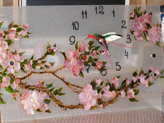 Часы для дома ручной работы. Ярмарка Мастеров - ручная работа. Купить Часы настенные Сакура с колибри. Handmade. Комбинированный, часы
