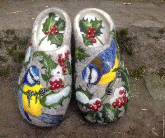 Обувь ручной работы. Ярмарка Мастеров - ручная работа. Купить Тапочки «Дыхание зимы» 28см. Handmade. Серый, рисунок шерстью