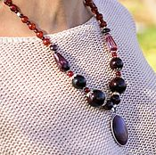 Украшения handmade. Livemaster - original item Necklace color Marsala from natural stones. Decoration on the neck, beads. Handmade.