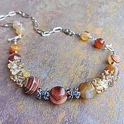Украшения handmade. Livemaster - original item Necklace with agate. Earrings with large stones. Handmade.