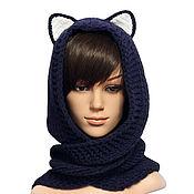 Аксессуары handmade. Livemaster - original item Hood-scarf with Cat ears women`s wasany dark blue. Handmade.
