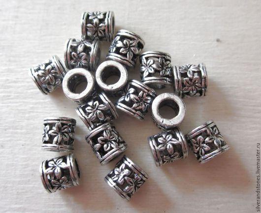 Для украшений ручной работы. Ярмарка Мастеров - ручная работа. Купить Бусина трубочка с цветочком, цвет серебро, металл. Handmade.