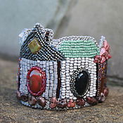 Украшения handmade. Livemaster - original item Bracelet of leather and beads of the Old town. Handmade.