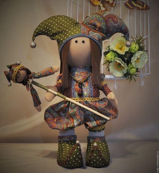"""Человечки ручной работы. Ярмарка Мастеров - ручная работа. Купить Интерьерная кукла """"Шут гороховый"""". Handmade. Коричневый, турецкий огурец"""