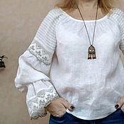 Блузки ручной работы. Ярмарка Мастеров - ручная работа Блуза крестьянка из льна с кружевом белая Арт 129-4. Handmade.