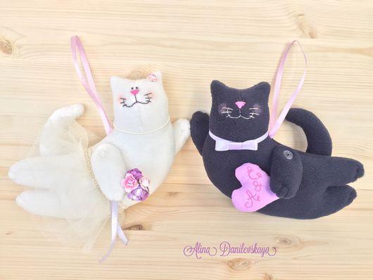 """Куклы Тильды ручной работы. Ярмарка Мастеров - ручная работа. Купить Летящие коты Тильда """"Свадебная пара"""". Handmade."""