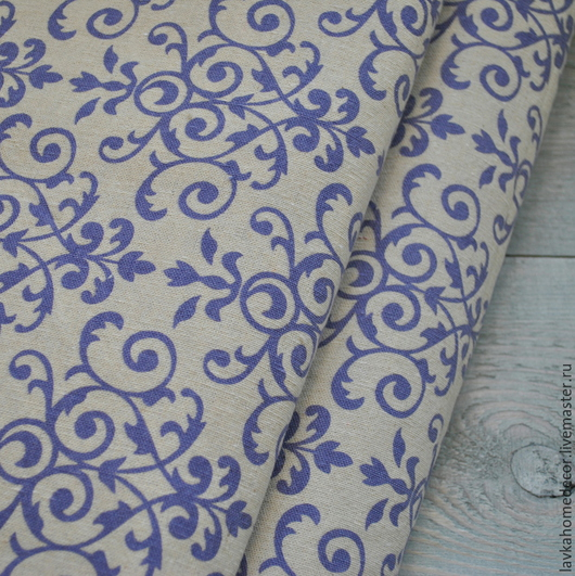 Ткань лен небеленый Дамаск синий 50х50см, 2212