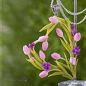 Украшения ручной работы. Ярмарка Мастеров - ручная работа Кулон Сердце с розовыми тюльпанами. Handmade.