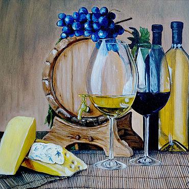 """Картины и панно ручной работы. Ярмарка Мастеров - ручная работа Картина маслом, натюрморт. """"Вино и сыр"""". Handmade."""