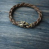 "Ring handmade. Livemaster - original item Leather bracelet ""Wolf"". Handmade."