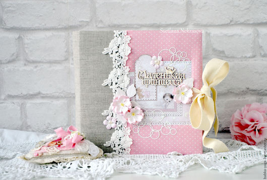 Фотоальбомы ручной работы. Ярмарка Мастеров - ручная работа. Купить Маленькая принцесса, фотоальбом.. Handmade. Бледно-розовый, фотоальбомы, лён