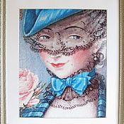 """Картины и панно ручной работы. Ярмарка Мастеров - ручная работа Картина вышивка """"Дама с вуалью"""". Handmade."""