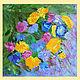 картина маслом `Цветочная мозаика`