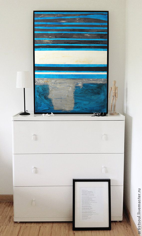 Абстракция ручной работы. Ярмарка Мастеров - ручная работа. Купить Абстрактная живопись. M.. Handmade. Тёмно-синий, полосатая картина