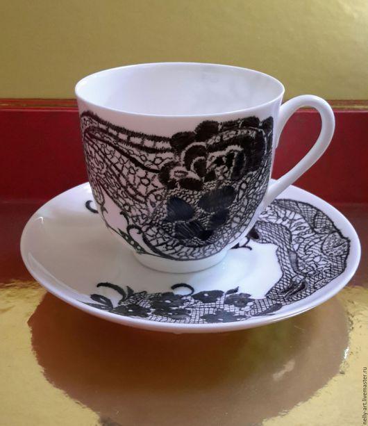 Сервизы, чайные пары ручной работы. Ярмарка Мастеров - ручная работа. Купить Кофейная пара Кружева на фарфоре. Handmade.