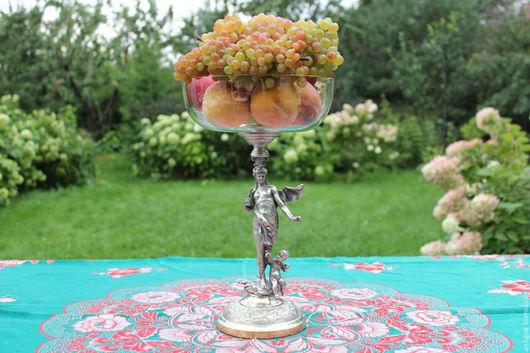 Винтажные предметы интерьера. Ярмарка Мастеров - ручная работа. Купить Старинная высокая ваза,серебряное покрытие,хрусталь. Handmade. Ваза