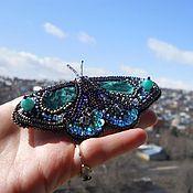 """Украшения ручной работы. Ярмарка Мастеров - ручная работа Брошь """"Emerald butterfly"""". Handmade."""