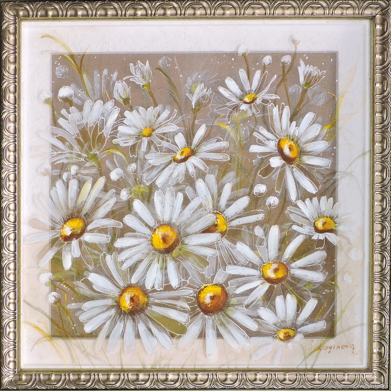 РОМАШКИ, картина на шёлке,  картина с ромашками, картина с цветами, Картины, Находка,  Фото №1